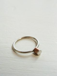 Copper and Silver Button Ring
