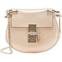 Chloé Drew Nano-Crossbody found on Polyvore featuring bags, handbags, shoulder bags, gold, chain strap purse, beige purse, chain handle handbags, metallic shoulder bag and metallic handbags