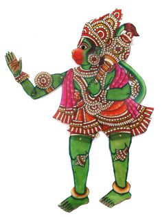 Green Hanuman the Monkey God parchment puppet hand-painted in pinks and India Ink penwork