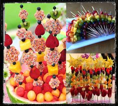 Cute party food ideas! Love the fruit kabobs in rainbow colors--would be cute for Hungry Caterpillar theme :)