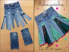 Du fil et mon…: DIY : Recycler un vieux jean en jupe … - DIY Ideen Sewing Jeans, Sewing Clothes, Diy Clothes, Diy Jeans, Hippie Skirts, Diy Kleidung, Denim Ideas, Denim Crafts, Jeans Rock