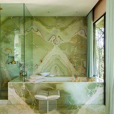 Steven Meisel's green marble bathroom