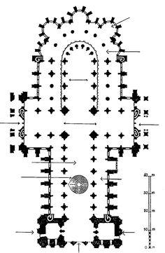 Plan de la cathédrale Notre-Dame de Chartres. La forme de l'édifice, orienté vers l'Est, est celle d'une croix latine avec nef basilicale. Les dimensions principales de la cathédrale sont : hauteur du sol au faîte de la toiture : 51 m hauteur du clocher de style gothique : 115 m longueur intérieure : 130 m longueur de la nef : 44 m déambulatoire et chapelle axiale : 18 m largeur de la nef avec les bas-côtés : 33 m Chapelle, Dimensions, Religion, How To Plan, Gothic Art, Goth Style, Latin Dance, Crosses, Stockings