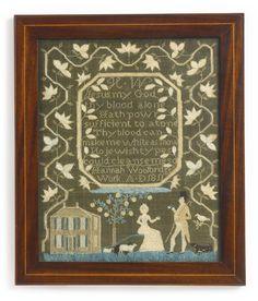 A RARE NEEDLEWORK SAMPLER, HANNAH WOOLBRIDGE, AT MARTHA TARR HANOVER BARBER'S SCHOOL, MARBLEHEAD, MASSACHUSETTS, DATED 1811 | Lot | Sotheby's
