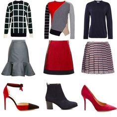 Sweater + Skirt + Stiletto = the ultimate triple threat (grey, black, red, skirts, heels, sweaters)