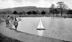 Old photograph of the pond in South Inch Park in Perth, Perthshire, Scotland