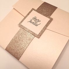 Light Coral Wedding Invitation, Coral and Glitter Pocketfold Invitation, Gold Glitter Wedding Invitation