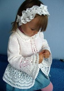 Veronica crochet y tricot. Little girl's lacy crochet jacket: charts (free pattern) Crochet jacket & Headband in russian with graph Toddler girl crochet sweater and matching headband Crochet for kids Knitting For Kids, Crochet For Kids, Baby Knitting, Knit Crochet, Crochet Hats, Crochet Children, Free Knitting, Baby Girl Crochet, Crochet Baby Clothes