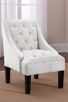 Tufted Swoop Arm Chair - Velvet White  Simple and classic.