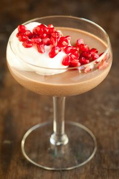 Nutella Panna Cotta with Pomegranate