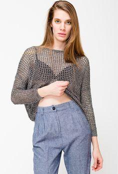 UNIF Crochet Shimmer Top -- found on BIBANDTUCK.COM