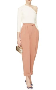 Double Faced Wool Crepe Straight Leg Trouser by DELPOZO Now Available on Moda Operandi