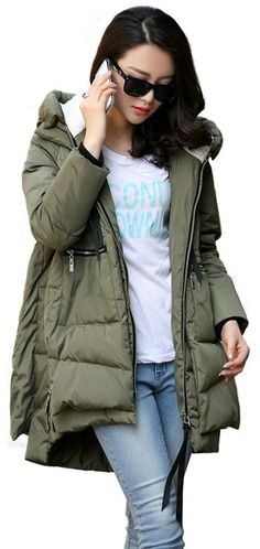 Qinol Womens Winter Outwear Thickened Long Down Jacket Parka Hoodie Overcoat >>> Read more at the image link. (This is an affiliate link) Down Parka, Down Coat, Vest Jacket, Rain Jacket, Look Fashion, Winter Fashion, Fashion Hair, Cheap Fashion, Fashion Models