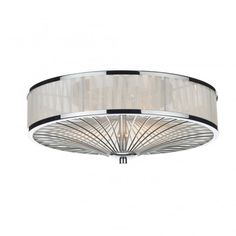 Modern Flush Chrome Ivory Pleated Ceiling Light Ideal For Contemporary Settings Great Low Ceilings Due To Ing