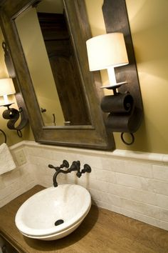love the idea of wall mounted faucets leaves more counter top space