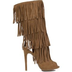 Peep Toe Fringe Heeled Boots - Camel Suede ($65) ❤ liked on Polyvore featuring shoes, boots, camel suede, mid-calf boots, high heel boots, fringe boots, open toe boots, mid calf fringe boots and tall suede boots