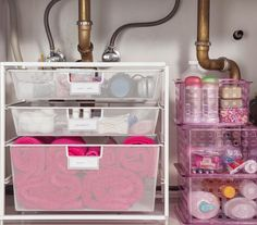 How to organize cosmetics & toiletries under the sink.