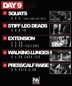 Yup! Its that time again...LEG DAY and heavy squats again!! This week your goal on your 5 x 5 squat, try and add 5 lbs-10 lbs to those woking sets. If you stru