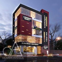 Commercial elevation Retail Architecture, Architecture Building Design, Commercial Architecture, Facade Design, Exterior Design, Building Elevation, Building Exterior, Building Facade, Design Commercial