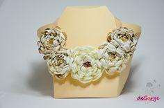 Fabric flower bib necklace