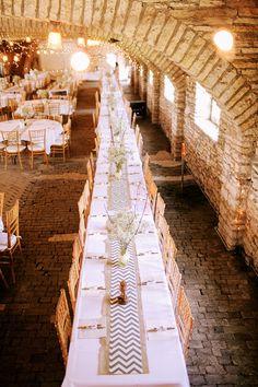 Chevron Wedding Table Decor #mayowoodstonebarn