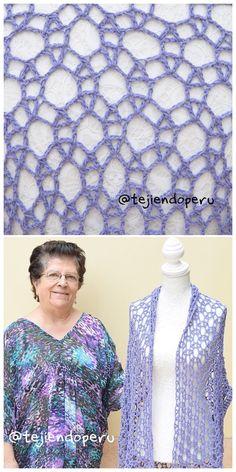 Poncho o ruana con mangas tejido a crochet  Vídeo paso a paso del punto y del poncho en tejido recto