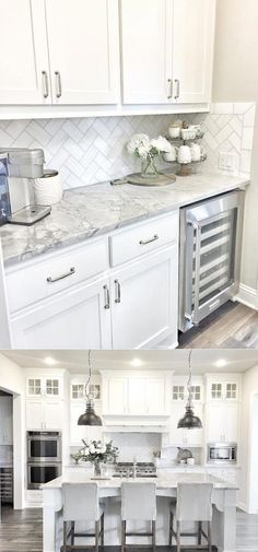 Stunning White Kichen Cabinet Decor Ideas (With Photos) For 2020 Looking for ideas for white kitchen? Check out these awesome white kitchen cabinet decor ideas for 2020 . Kitchen Cabinets Decor, Kitchen Room Design, Cabinet Decor, Kitchen Redo, Home Decor Kitchen, Kitchen Interior, Home Kitchens, Cabinet Makeover, Cheap Kitchen