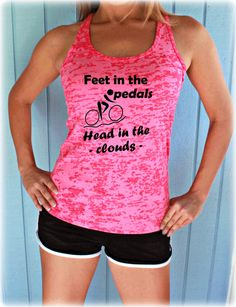 e17b982783 Feet in the Pedals Head in the Clouds Bike Tank Top. Cute Womens Workout  Clothing