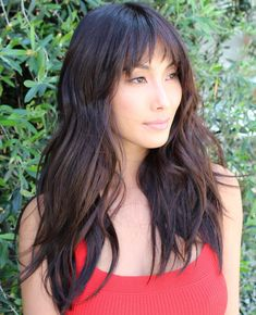 50 Cute and Effortless Long Layered Haircuts with Bangs Dramatic Long Brunette Shag with Waves Layered Haircuts With Bangs, Long Hair With Bangs, Haircuts For Long Hair, Long Hair Cuts, Long Hair Styles, Thick Hair, Layer Haircuts, Haircut Layers, Hair Bangs
