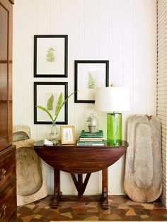 like the way they styled this table, DIY botanical prints, all the green - BHG