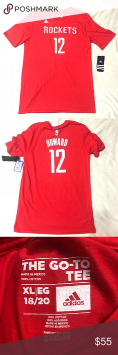 ADIDAS Houston NBA Rockets Howard 12 Kids Shirt XL FEATURES  Grown up Boys  • NBA  • Adidas NWT T-shirt • Houston Rockets  • Howard  12 • Sz XL 18-20 adidas Shirts & Tops Tees - Short Sleeve