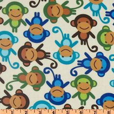Urban Zoologie Slicker Laminated Cotton Monkies Natural from @fabricdotcom  Designed by Ann Kelle for Robert Kaufman Fabrics, this fabric is perfect for raincoats, shower curtains, tablecloths and placemats too! This is a printed cotton fabric with a soft, protective film laminated to the face of the fabric, making it extremely pliable yet durable.