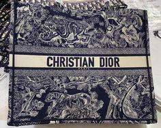 Dior book tote new tiger embroidered bag blue small 36cm Dior Bags, Embroidered Bag, Blue Bags, Christian, Book, Dior Handbags, Book Illustrations, Christians, Books