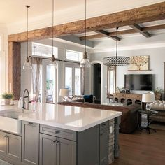 Exposed wood beams framing through way from kitchen to living room.beautiful warm touch accentuating both rooms! Open Kitchen And Living Room, Kitchen Redo, Home Decor Kitchen, Interior Design Kitchen, New Kitchen, Home Kitchens, Kitchen Remodel, Kitchen Ideas, Kitchen Island With Bar