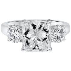 e2cd2ab7f Roman Malakov - 3.04 Carat Radiant Cut Three-Stone Engagement Ring  Contemporary Diamond Platinum