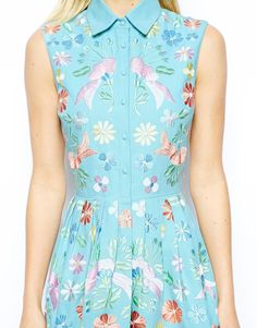 Image 3 ofASOS TALL Premium Shirt Skater Dress With Pastel Embroidery