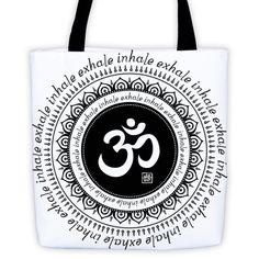 Om - Inhale Exhale - Tote bag with black straps