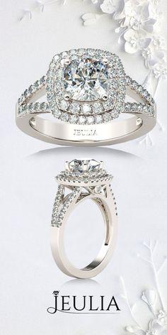 Jeulia Halo Split Shank Cushion Cut Created White Sapphire Engagement. The Classic Double Halo Engagement Ring From Jeulia. #Jeulia#Engagement #Ring#Wedding
