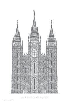 Letterpress poster of the Salt Lake Temple, by Cameron Moll. Created entirely using typography.