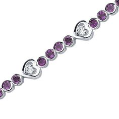 Peora.com - 3 cts Round Cut Amethyst Sterling Silver Bracelet SB3682, $99.99 (http://www.peora.com/dazzling-fascination-3-00-carats-total-weight-round-shape-amethyst-white-cz-gemstone-bracelet-in-sterling-silver-free-shipping-style-sb3682/)