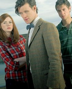 Matt Smith as The Eleventh Doctor, Karen Gillan as Amy Pond & Arthur Darvill as Rory Williams on Doctor Who