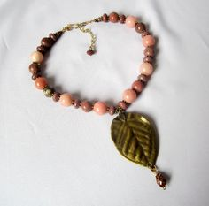 Pink Opal and Rhodonite necklace by Thingsfromtheheart on Etsy, $95.00