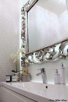 White Powder Room with Vintage Silver Mirror Feminine Decor, Bathroom Design Inspiration, Laundry In Bathroom, White Houses, White Decor, Beautiful Bathrooms, Decoration, Powder Room, Sweet Home