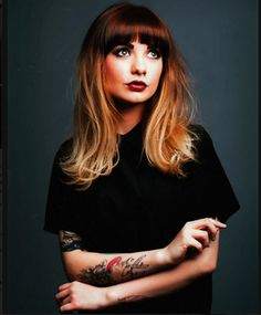Light Ombre and bold bangs. Incredible urban style.