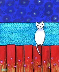 White Acadian Cat Print by AliceinParis put together with wood from beach painted