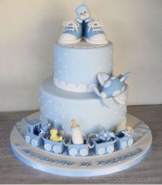 Christening Cake For Baby Boy Torta Baby Shower, Baby Shower Cakes For Boys, Baby Boy Cakes, Baby Shower Parties, Shower Party, Gateau Baby Shower Garcon, Baby Boy Christening Cake, Cake For Baptism Boy, Teddy Bear Cakes
