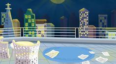 Cute Cartoon Night Roof Top View Illustration Background Cartoon Background, Night Background, Background Images, Cartoon Styles, Cute Cartoon, Fun Illustration, Disco Party, Cute Backgrounds, Roof Top