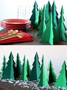 Free Printable Pine Tree Forrest -- any easy Dinner Centerpiece ward christmas party food,cupcake Christmas Party Centerpieces, Christmas Party Table, Diy Paper Christmas Tree, Christmas Table Decorations, Christmas Holidays, Christmas Crafts, Christmas Parties, Christmas Trees, Holiday Dinner