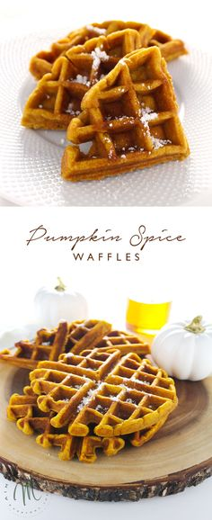 Turn breakfast into a fully fall affair with these delicious Pumpkin Spice Waffles or make a seasonal brunch and delight your friends.  #PumpkinSpice