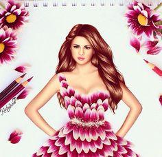 I love how she uses flower petals for the dress | Kristina Webb Art